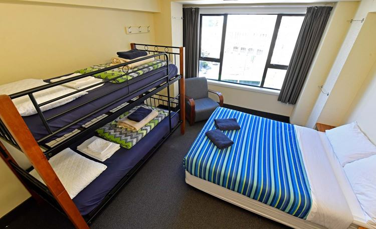 YHA Wellington family room with double bed and bunk bed