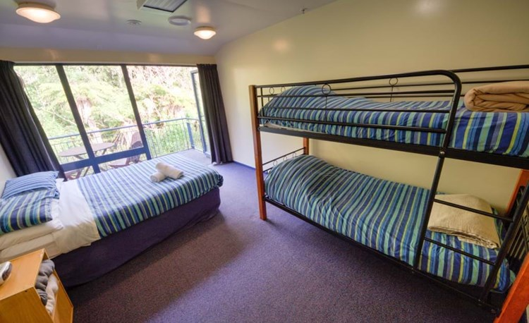 YHA Franz Josef family room with double and bunk bed