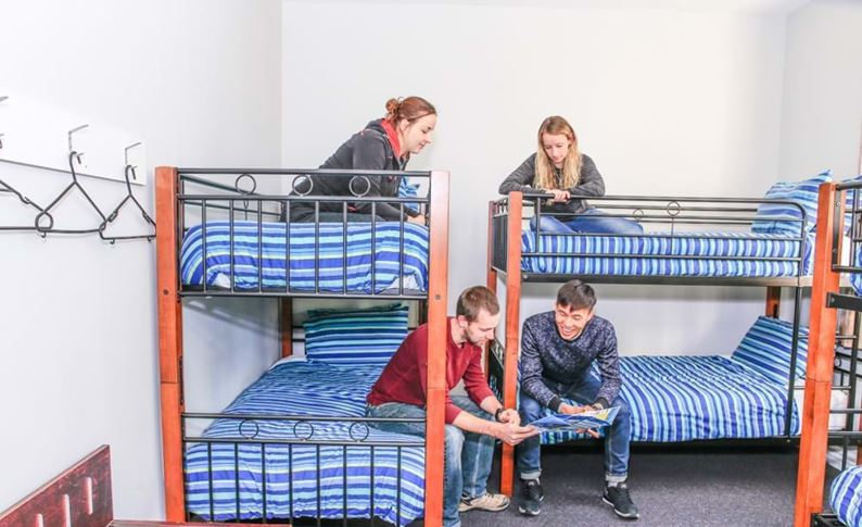 YHA Christchurch youth travelers planning in multishare bunk bedroom