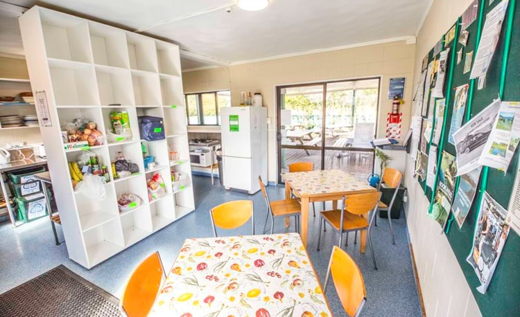 YHA Paihia communal kitchen and dining area