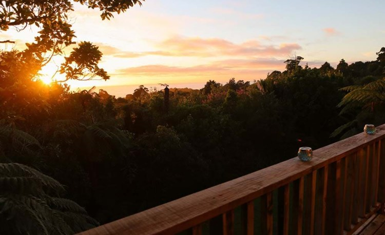 YHA Punakaiki sunset view from deck