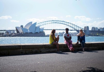 YHA Australia - friends enjoying Sydney Harbour
