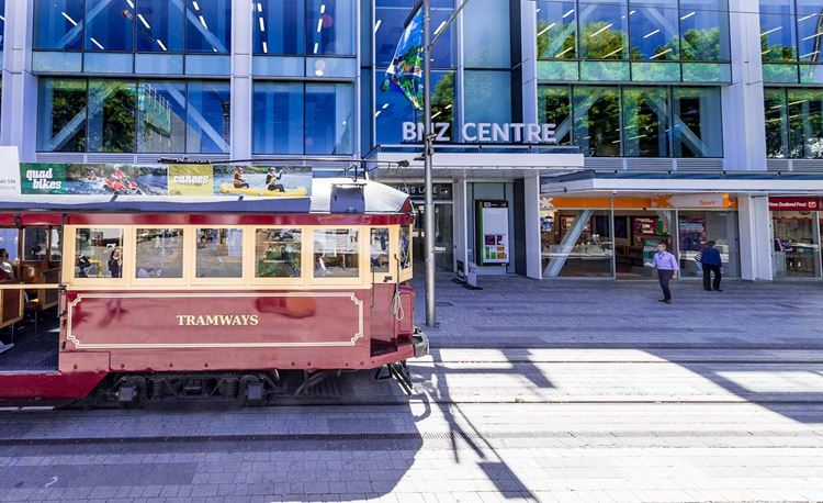 yha christchurch tram outside the bnz centre
