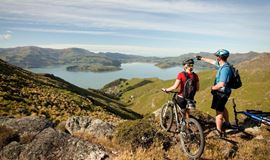 yha christchurch cyclist couple looking over lyttleton in the port hills