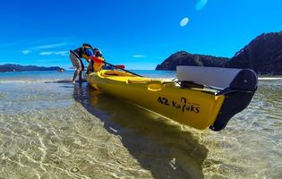 Yellow able tasman kayak on beachfront
