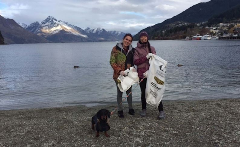 Staff assist with clean up on Queenstown Lakefront