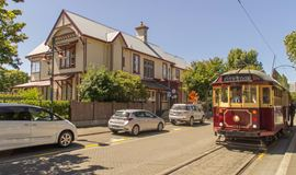 YHA Christchurch Rolleston House heritage building and Christchurch tram