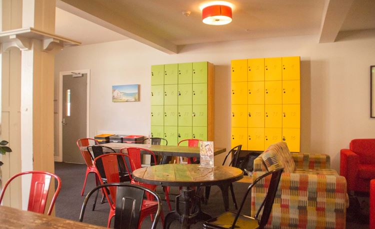 YHA Christchurch dining area with lockers